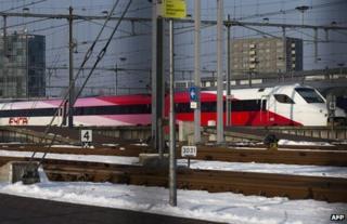 A Fyra train stand idle in Watergraafsmeer, Amsterdam, 18 January