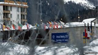 Barbed wire in front of the Davos conference centre