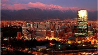 Santiago skyline at night