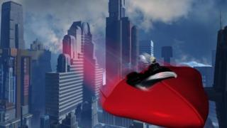 A future cityscape with flying car