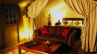 Inside one of the luxury tents