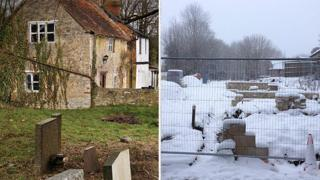 Twywell cottages before (left) and after demolition