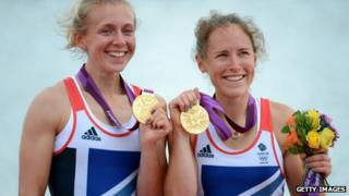 Kat Copeland (left) celebrates gold at London 2012
