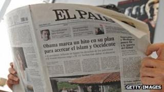 A man reading Spain's El Pais newspaper (file picture)