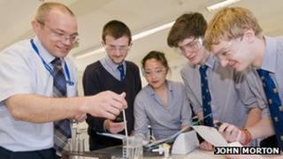Science lesson at Colyton