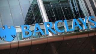 Barclays logo on HQ Canary Wharf