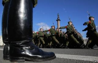 Russian soldiers march during a rehearsal for a parade in St Petersburg (file photo)