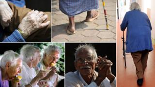 General pictures of elderly people: A hand, a man walking with a stick, a woman with a walking frame, three women eating ice creams, a man sitting.