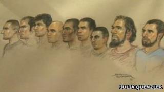 Court sketch of defandants
