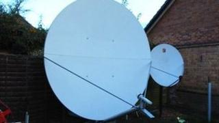 The two metre satellite dish in Gary Goodger's garden