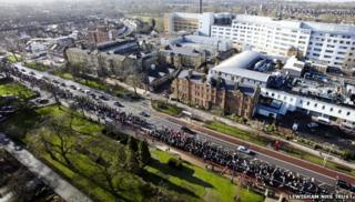Protesters marching past Lewisham hospital