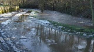 Flooding on Snake Lane in Duffield, Derbyshire