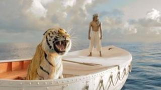 "Suraj Sharma with tiger ""Richard Parker"" in Life of Pi"