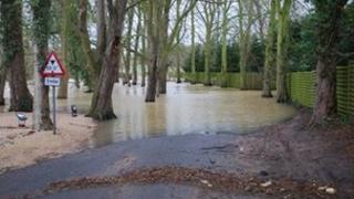 Flooded Hill Wootton Road, near Leamington