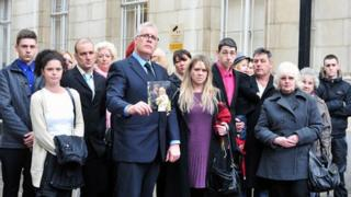 Colin Green joined by family after the inquest into Christine Shinwell's death