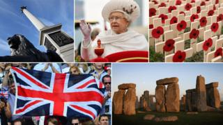 From left to right: Nelson's Clumn, the Queen, poppies, the union flag and Stonehenge