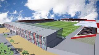Artist's impression of the new North Terrace at Stevenage Football Club