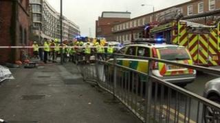 Crash scene in Nottingham