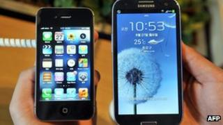 Apple and Samsung phones