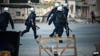 Bahrain riot police, village of Ma'ameer, 24 1 2013