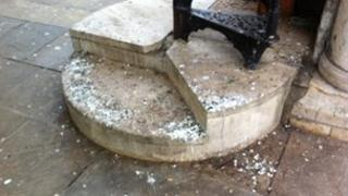 Pigeon droppings on the steps of Peterborough Guildhall