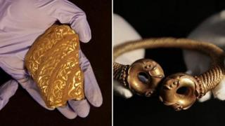Staffordshire hoard piece and golden torc