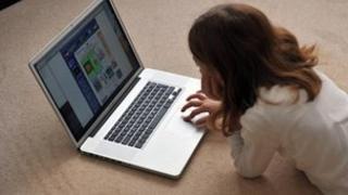 Girl browsing on computer
