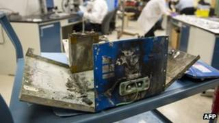 The burnt battery from a Japan Airlines 787 plane