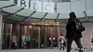 Employees outside New Broadcasting House