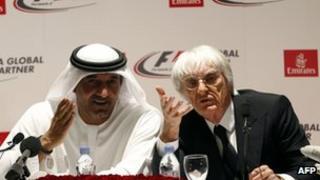 Sheikh Ahmed bin Saeed al-Maktoum (L) and Bernie Ecclestone (R)