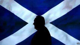 Alex Salmond in front of Saltire
