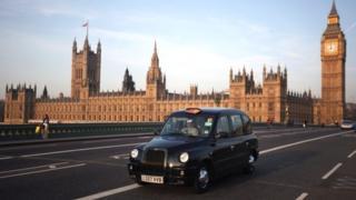 Black cab on Westminster Bridge