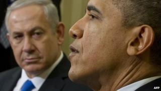Israeli Prime Minister Benjamin Netanyahu (background) with US President Barack Obama in Washington DC, 5 March 2012