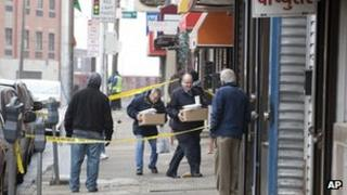 FBI agents enter Raja Jewelers in Jersey City 5 February 2013