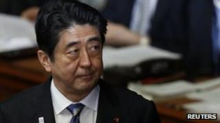 Japanese Prime Minister Shinzo Abe, seen in parliament on 5 February 2013