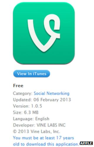Vine app store screenshot