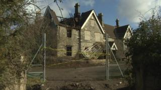 A fire has badly damaged the former Butleigh Hospital building in Somerset