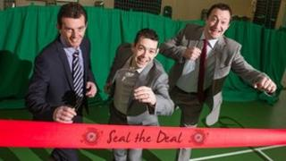 Art Ruddy from DEL, Peter McCaul from Dealtronic, and Jim Finnegan of JMC Mobile launch the 'Seal the Deal' recruitment drive