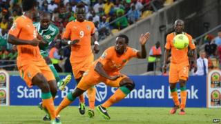 Nigerian forward Sunday Mba kicks a ball to score a goal during the African Cup of Nation 2013 quarter final football match against Ivory Coast in Rustenburg, South Africa - 3 February 2013