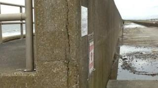 Crack in sea wall at Rossall