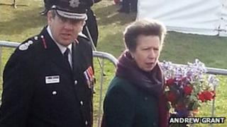Princess Anne carrying a bouquet