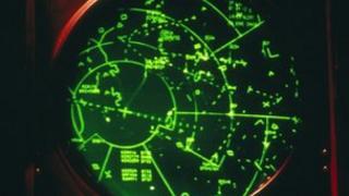 A radar screen in an Air Traffic Control tower