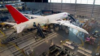 Boeing 787 Dreamliner on the production line