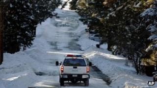 A police vehicle in Big Bear Lake, California