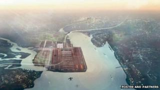 Impression of the proposed Norman Foster Thames estuary airport