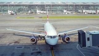 An aeroplane at Heathrow Airport