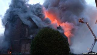 Firefighters tackle the blaze on Taylor Place in Edinburgh