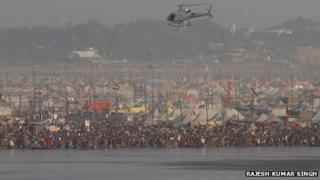 Helicopter flying low over Kumbh Mela on 10 February