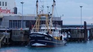 Brixham registered beam trawler in St Peter Port Harbour