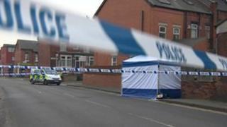 The murder investigation scene